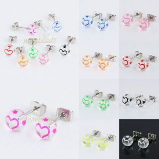 Clear Ball Beads Stainless Steel Stud Pin Ear Earring Jewelry