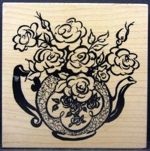 PSX G 2228 Roses in Teapot Rubber Stamp Flower Floral