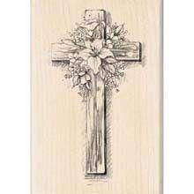 Inkadinkado Rubber Stamp Easter Cross Religious Flowers