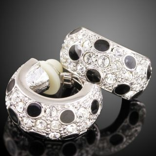 p209 White gold GP Swarovski Crystal black Enamel Earring Clip on