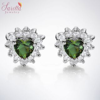 JEWELRY LADY HEART CUT GREEN EMERALD WHITE GOLD GP STUD EARRINGS NEW