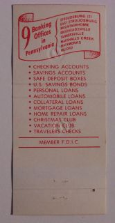 1980s Matchbook Security Bank Flag East Stroudsburg PA