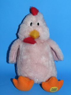 Chicken Dance Musical Plush Stuffed Toy Pink Battery Operated CLEAN