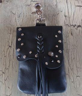 Leather Stud Biker Hip Bag Belt Loop Clip Pouch Bag