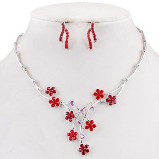 Party Set Flowers Branch Joint Necklace Earrings Ear Pins
