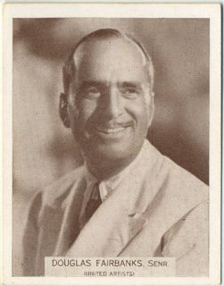 Douglas Fairbanks SR Vintage 1934 Wills Famous Film Stars Tobacco Card