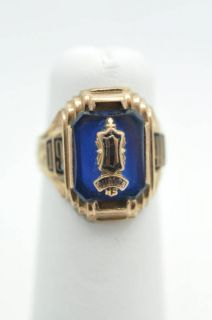 Antique 1940 Duryea High School Class Ring 10K Y Gold