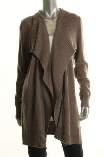 Private Label New Brown Cashmere Ribbed Trim Open Cardigan Sweater