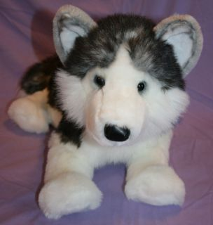 large BIG 19 8 tail plush HUSKY stuffed animal DOG Douglas Cuddle Toy