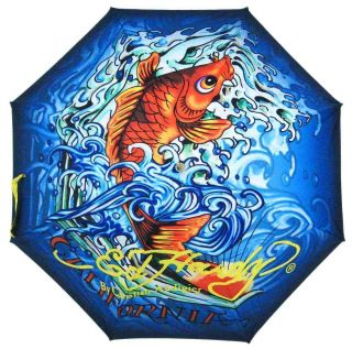 Ed Hardy Womens RARE Lucky Koi Fish 36 Span 29 Stick Umbrella Free