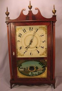 Ephraim Downes Pillar & Scroll Wooden Works Clock BEST OFFER