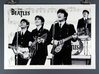 The Beatles RARE Poster Early Years Ed Sullivan Copyright 1982 Silver