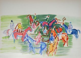 Raoul Dufy Limited Edition Pochoir Paddock Signed