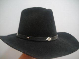 Eddy Bros Brothers Black Leather Cowboy Western Hat 7
