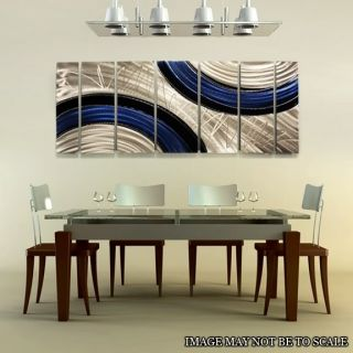 Abstract Metal Wall Art Decor Sculpture Silver/Blue Ebb and Flow