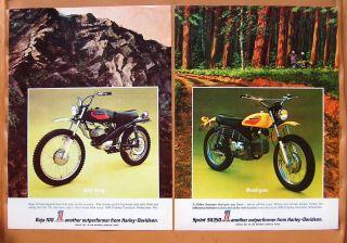 0092 Two Harley Davidson Ads circa 1972 Sprint SX350 Baja 100