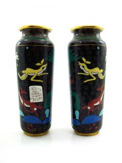Pair Art Deco Japanese Cloisonne Vases