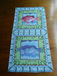 Fish Fishes Sally Eckman Roberts NEW Tapestry Fabric Material Pillow
