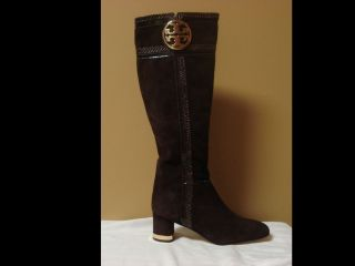 525 Tory Burch Gold Logo Edith Brown Knee High Suede Boots Shoes Flats