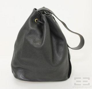 Longchamp Vintage Black Leather Drawstring Bucket Bag