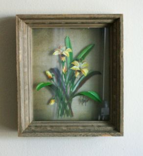 Reverse Painted Glass Botanical Study Edmond J Nogar