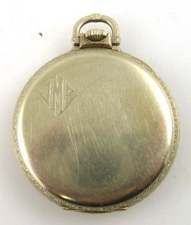 Vintage E Howard Pocket Watch 17 Jewels White Gold Filled 1917 Working