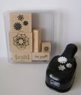 Stampin Up One of A Kind Boho Blossoms Rubber Stamp Set Matching Punch