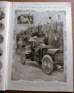 illustrated newspaper w Large Engraving of 1st WOMAN RACE CAR DRIVER