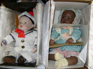 Two Edwin M Knowles Porcelain Baby Dolls by Yolanda Bello