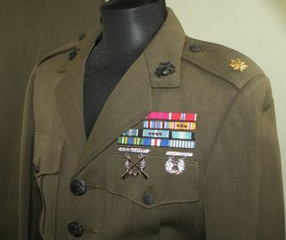USMC Marine Corps Officer Alpha Uniform Ribbons Badges & EGAs   Major