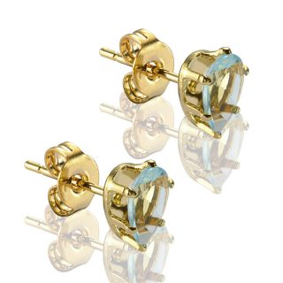 JEWELRY LADY AQUAMARINE EARRINGS YELLOW GOLD GP STUD EARINGS EARINGS