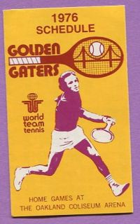 1976 Oakland Golden Gators World Team Tennis League Schedule K0395