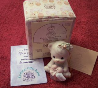 PRECIOUS MOMENTS FIGURINE WISHING YOU A BEAR IE MERRY CHRISTMAS  NIB