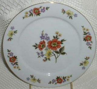 Dynasty China Dalian Salad Plate Yellow Purple Rust Flowers