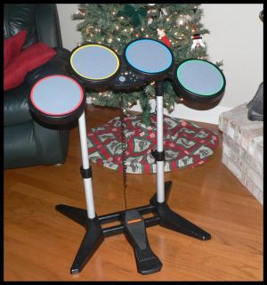 XBOX 360 WIRED DRUMS   ROCK BAND DRUM SET 4 DRUMS w/ BASS DRUM PEDAL