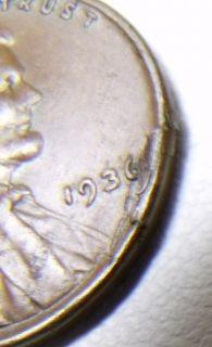 ROLLING FOLD 1936 LINCOLN CENT PENNY VERY RARE ERROR COIN UNIQUE