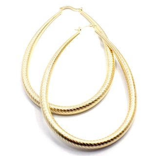 Gold Filled 18K GF Earrings Fashion Sexy Jumbo Big Hoop Oval Exotic