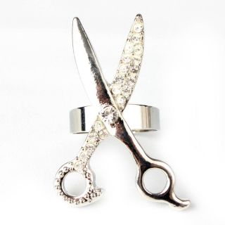 Scissors Silver Adjustable Rhinestone Metallic New Ring