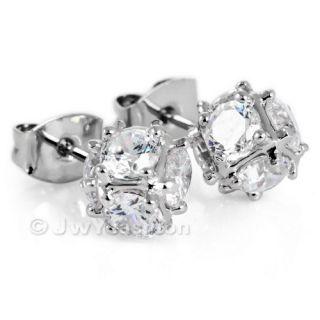 Cubic Zirconia Silver Stainless Steel Men Studs Earrings VP101