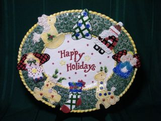 Fitz & Floyd Essentials HOMESPUN HOLIDAYS PLATTER Santa Christmas
