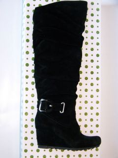 NEW EARTHIES RAPHAELLE TALL BLACK SUEDE WEDGE BOOTS SHOES 11 NIB $249