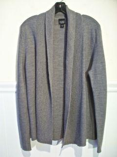 EILEEN FISHER S Gray Merino Wool Shawl Collar Cardigan Sweater Hand