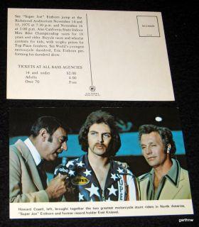 EVEL KNIEVEL & SUPER JOE EINHORN 1975 POST CARD MOTORCYCLE JUMP HOWARD