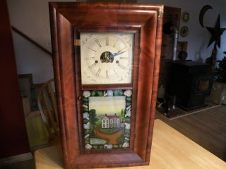 Painted Glass 8 Day Clock J C Brown Bristol Conn Eastville