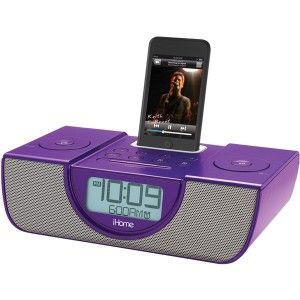 iHome Purple IP42 Dual Alarm FM Clock Radio with iPod iPhone Dock LCD