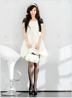 Fashion Women Ladies Gift New White Bow Bubble Cocktail Dress