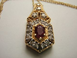 Estate 14k Yellow Gold Ruby & Diamond Pendant with 14K 18 inch chain