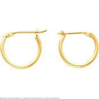 14k Yellow Gold Hoop Earrings Polished Ear Jewelry