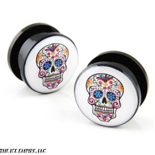 of Sugar Skull Screw on Guage Acrylic Ear Plugs 2G 0g 00g EP006