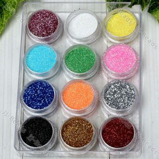 12 Color Glitter Powder Dust Nail Art Tips Decoration